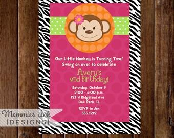 Modern Monkey - Zebra Print - Birthday Party Invite - Girl Monkey Invite - Girls Birthday - PRINTABLE INVITATION DESIGN
