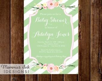 Watercolor Flowers Baby Shower Invitation, Green and White Stripes Baby Shower Invitation, Pastel Flowers, Printable Invitation