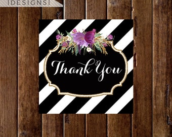Black and White Stripe with Purple Flowers and Gold Glitter - Thank You Favor Tags - PRINTABLE DESIGNS