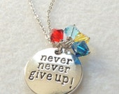 READY TO SHIP, Never Never Give Up Necklace, Autism Awareness Necklace, Swarovski Crystals necklace, Thank you gift, Autism Mom, April gift