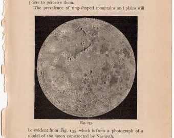1884 full moon print original antique astronomy lithograph - lunar surface craters
