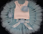 Sweet Blue Sugar Tutu Dress Outfit for Baby Girls Birthday Party