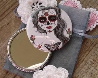 Katrina-Dia de los muertos-pocket mirror 2.25 inch 5.6cm
