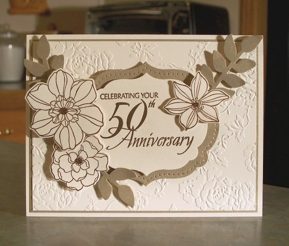 Handmade 50th Golden Anniversary Card 5 x 6 1/2