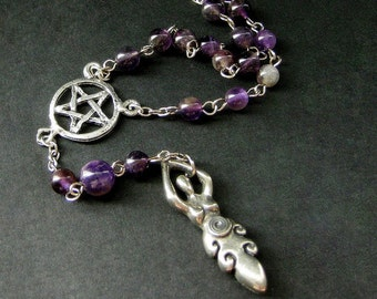 Spiral Dance Necklace. Amethyst Necklace. Goddess Necklace. Pagan Necklace. Meditation Rosary. New Age Jewelry. Handmade Necklace.