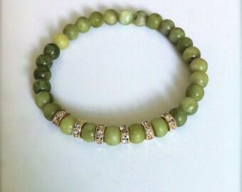 Olivine Green Gemstone Jade Stretch Bracelet, Gold Swarovski Rhinestones, Green Jade Bracelet, Olive Green Jewelry Green Bridesmaid Gift