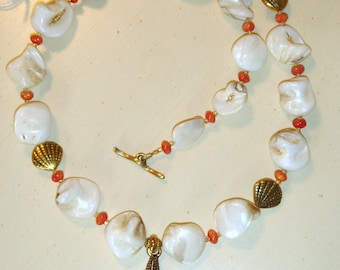Antique Gold Starfish Mermaid Shell Orange Beach Summertime Necklace