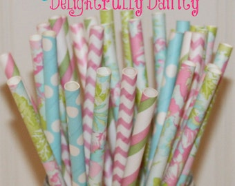 Paper Straws, 25 Dainty Watercolor Lily Paper Straw Mix, Pink Paper Straws, Blue Paper Straws, Vintage Wedding Paper Straws, Pastel Birthday