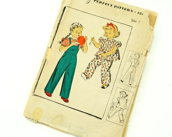 Vintage 1940s Girls Size 2 Overalls and Puff Short Sleeve Jacket Playsuit Du Barry Sewing Pattern 5584 Factory Folds / breast 21 waist 20
