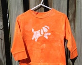 Toddler T-Shirt: Orange with Batik Dog, Long Sleeves (3T) Ready to Ship
