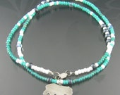 grizzly bear beaded necklace - sterling silver necklace - seed bead necklace - animal - wild