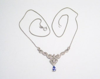 sz 16.75 in Italian made 10K white gold tanzanite and diamond accent drop pendant with woven foxtail link chain necklace