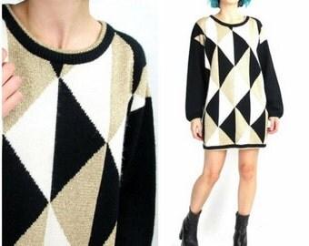 50% OFF SALE 80s Black and Gold Sweater Dress Geometric Metallic Sweater Triangle Pattern Sparkly Sweater Knit Oversize Winter Jumper (M/L)