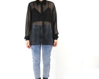 90s Sheer Black Blouse See Through Mesh Shirt Minimalist Goth Satin Collar Button Down Shirt Chiffon Womens Long Sleeves Shirt  (XS/S/M)