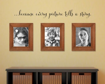 Picture tells a story Decal - Photo Wall Decal - because every picture - Medium Script
