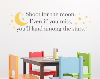 Shoot for the moon Wall Decal - land among the stars Decal - Moon & stars wall art - Large