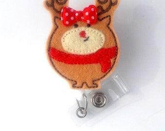 Reindeer Red Scarf - Retractable ID Felt Badge Holder - Holiday Badge Reel - Nurses Badge Holder - Hospital Badge - Teacher Badge