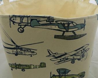 Fabric Organizer Storage Bin Container Basket  Premier Prints Vintage Air Felix/Natural 12 x 10 x 7+