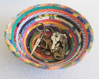Coiled Fabric Bowl / Coiled Clothesline Basket Wrapped Fabric Boho Colorful Carnival Small Round Bowl by PrairieThreads