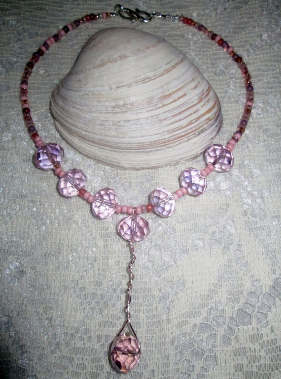 Pink Icing Diva Necklace - Delicate & Feminine - Pink Crystals - Breast Cancer Awareness - Unique