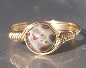 Orbicular Jasper 14k Gold Filled Wire Wrapped Ring Custom Sized
