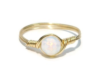 Faceted SM Opaline 14k Yellow Gold Filled Custom Sized Wire Wrapped Ring