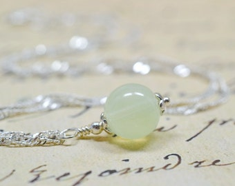 Celery Green Beaded Glass Necklace / Pale Pistachio Pastel Drop Bead, Simple Girls Jewelry, Sparkly Silver Chain