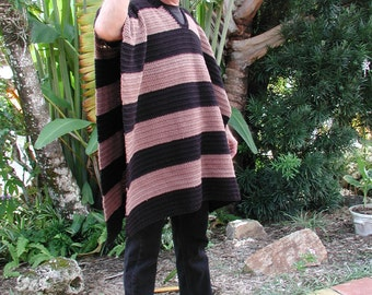 Mans Poncho, Crochet Poncho, Man Sweater, Men Mexican Fashion, Western Poncho, in Black and Tan, Men Outdoor Fashion