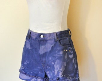 Blue Size 12 Levi's 550 Denim Shorts - Blue Violet Dyed Distressed Studded High Rise Levi's Cut Off Shorts - Adult Womens Size 12 (30 Waist)