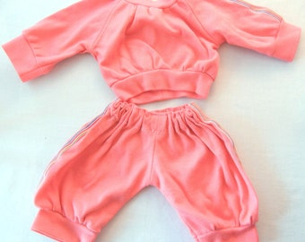 Cabbage Patch Doll Jogging Sweats, Petal Pink with Rainbow Striping on Legs and Arms, Handmade Toy Clothing from the 80s