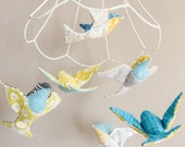 yellow turquoise grey fabric bird - create your own mobile