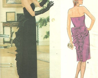 Vogue 1275 / Vintage Designer Sewing Pattern By Bellville Sassoon / Evening Dress Strapless Gown / Size 10