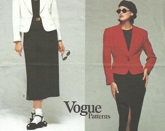Vogue 1306 Vintage Designer Sewing Pattern By Donna Karan DKNY //  Jacket Skirt Suit