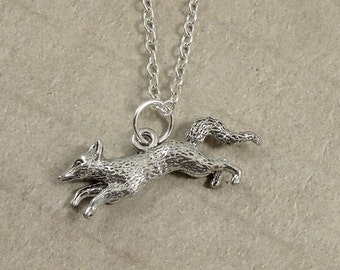 Running Fox Necklace, Silver Fox Charm on a Silver Cable Chain