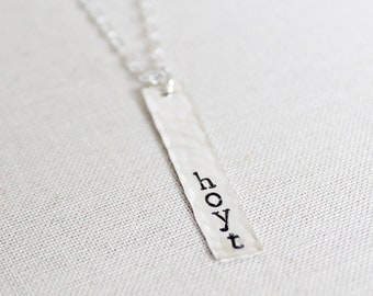 Sterling Silver Name Necklace, Personalized Silver Bar Necklace, Vertical Nameplate, Hammered