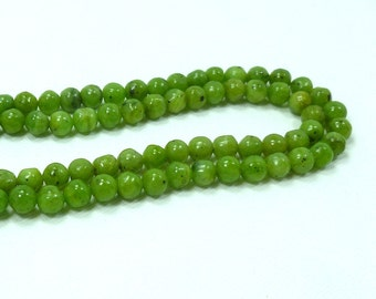 6mm Round Russian Jade, Lightly Faceted, Semi Precious Stone Beads, Full Strand