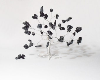 obsidian gemstone wire tree sculpture black silver whimsical wire tree protective art tree minimalistic home decor hostess gift under 25