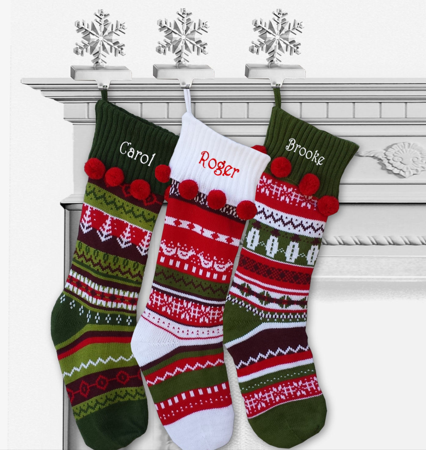knitted christmas stockings knit personalized fair isle by eugenie2 29133