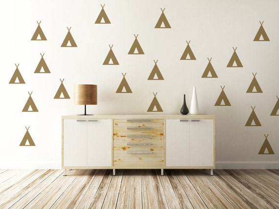 Rustic Wall Decor For Nursery : Tee pee wall decal rustic decor woodland nursery