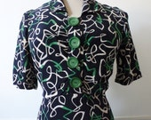 Original Vintage 1940s Rayon Abstract Novelty Print Bakelite Button Dress