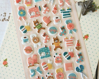 Green Childhood Desire Puffy scrapbooking diary stickers