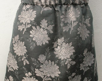 UPCYCLED Silver metallic grey/ gray floral brocade shimmer mini skirt elasticated o.o.a.k handmade in UK size 8-10