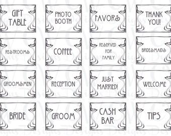 Set of 16 Art Deco Wedding Signs
