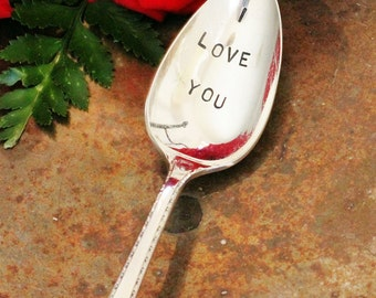 The Original Stamped Silverware Stamped Teaspoon Valentine I Love You Stamped Silverware - Silver Plate Tea or Coffee Stirrer