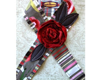 Red and Gray Floral  Headwrap Tie Headband Red Headband Red Gray Green Pink Tichel Sash Headcover Gifts for Her