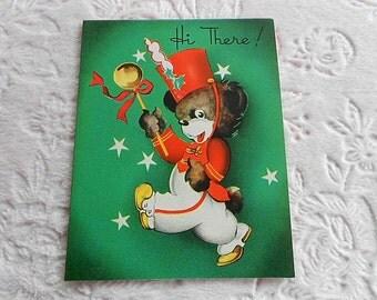 Vintage BOY GIRL Bear Happy Birthday CARD Greeting 1950s Child Children Paper Ephemera Bear Band Green Red Graphic Uniform Leader Hat Wand