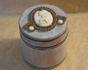 Kokopelli Bead Embroidery Trinket Box