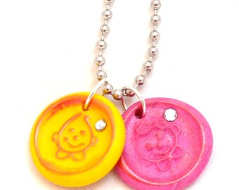 Faux Wax Seal Parker & Lolly Polymer Clay Necklace on Ball Chain