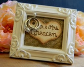 Wedding Ring Holder Rustic Woodland Shabby Chic Picture Frame Ring Stand Wood Heart Bridal Shower Gift Engagement Frame Burlap Frame