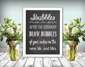 Bubbles Wedding Sign Chalkboard Printable 8x10 PDF DIY Instant Download Bubble Sign Bubbles Printable Rustic Shabby Chic Woodland Wedding